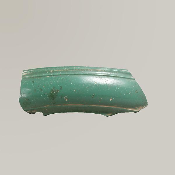 Glass monochrome dish fragment, Glass, Roman