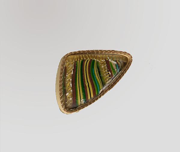 Glass striped mosaic bowl fragment, Glass, Roman