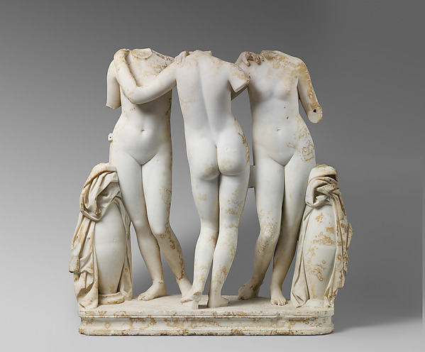 Marble Statue Group of the Three Graces, Marble, Roman