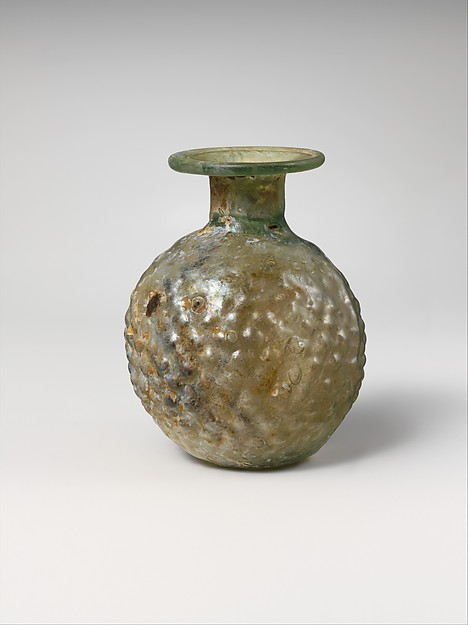 Glass sprinkler flask, Glass, Roman