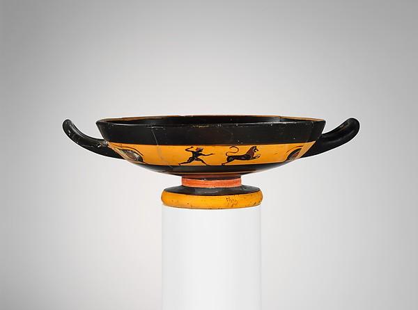 Terracotta kylix (drinking cup), Terracotta, Greek, Attic