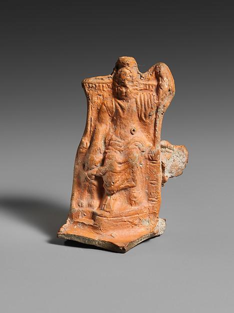 Terracotta lamp handle, Terracotta, Roman