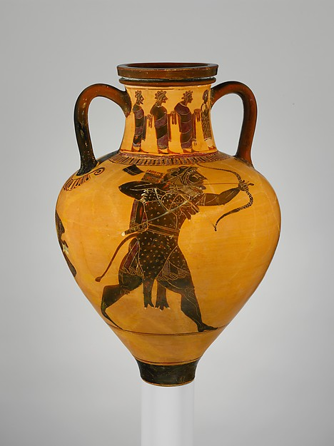 Terracotta neck-amphora (jar), Attributed to a painter of the Princeton Group, Terracotta, Greek, Attic