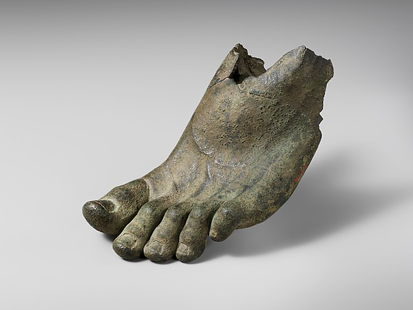Bronze left foot with traces of sandal straps, Bronze, Roman