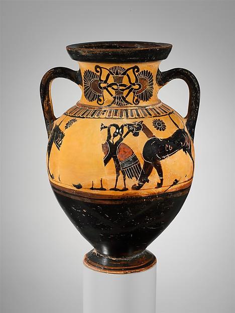 Terracotta neck-amphora (jar), Attributed to the Timiades Painter, Terracotta, Greek, Attic