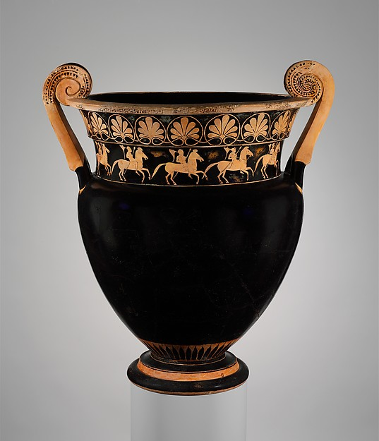 Terracotta volute-krater (bowl for mixing wine and water), Attributed to the Karkinos Painter, Terracotta, Greek, Attic