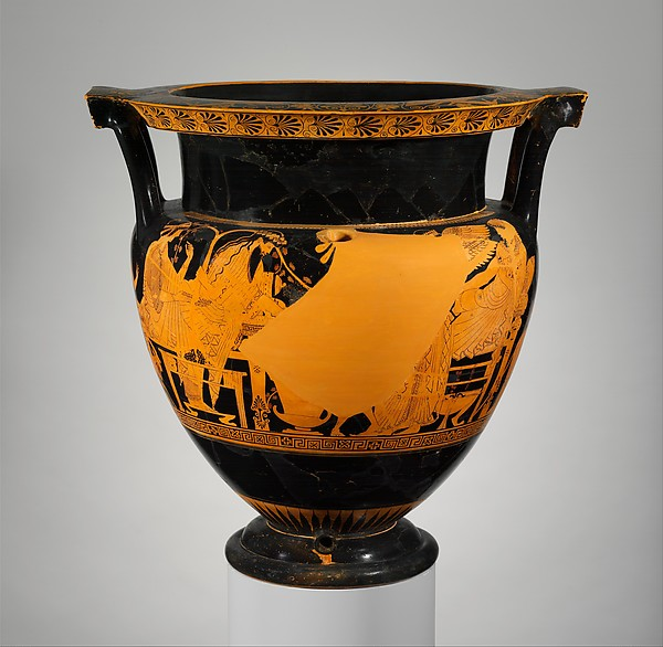 Terracotta psykter-column-krater (vase for chilling and mixing wine and water), Attributed to the Troilos Painter, Terracotta, Greek, Attic