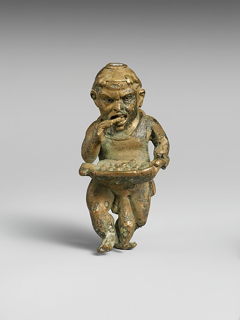 Bronze statuette of a dwarf with silver eyes, Bronze, Greek or Roman