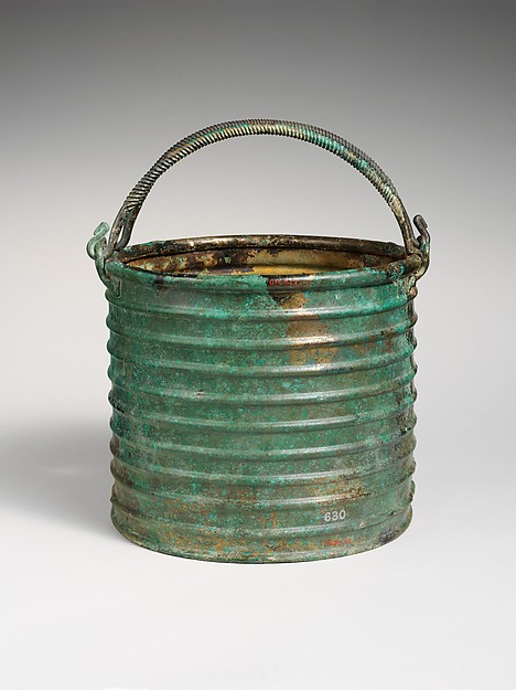 Bronze ribbed situla (bucket) with two handles, Bronze, Etruscan