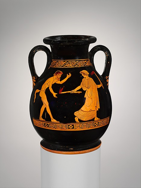 Terracotta pelike (jar), Attributed to the Carlsruhe Painter, Terracotta, Greek, Attic