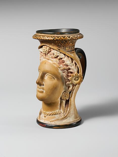 Terracotta oinochoe (jug) in the form of a woman's head, Terracotta, Etruscan