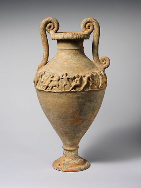 Terracotta neck-amphora (jar), Attributed to the Bolsena Group, Terracotta, Etruscan