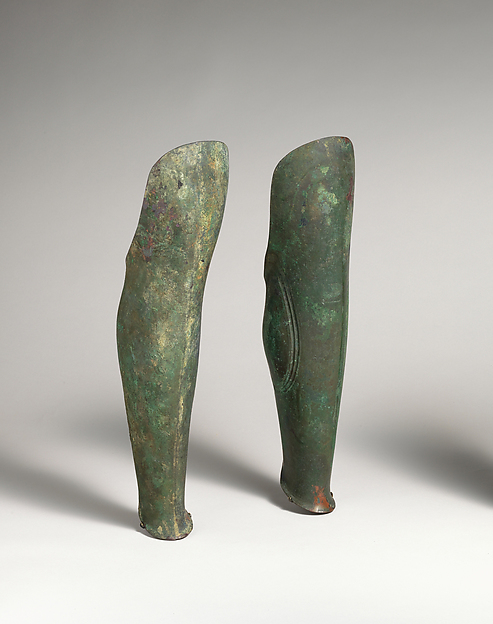Pair of bronze greaves, Bronze, Etruscan