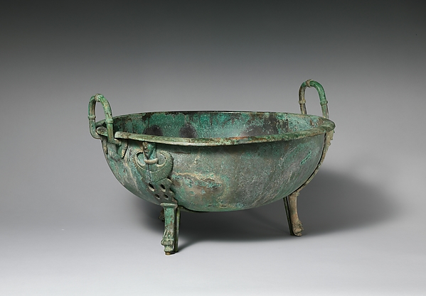 Bronze handled basin with three feet, Bronze, Etruscan