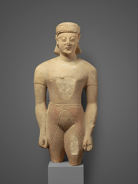 Limestone male figure, Limestone, Cypriot