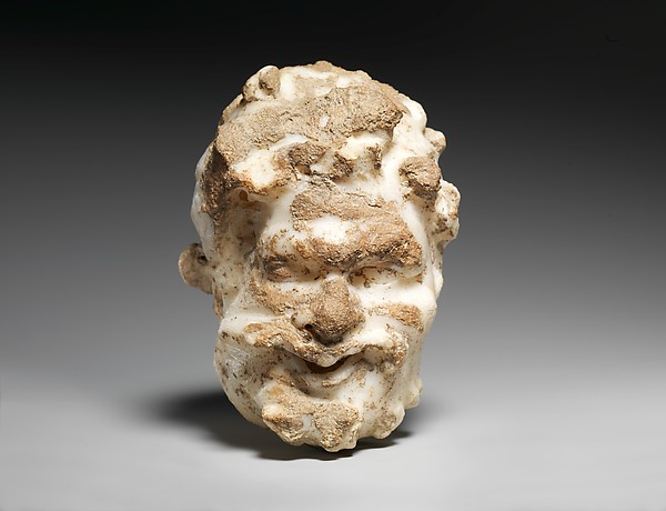 Marble head of a satyr, Marble, Pentelic ?, Greek