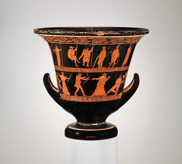 Terracotta calyx-krater (bowl for mixing wine and water), Attributed to the Nekyia Painter, Terracotta, Greek, Attic