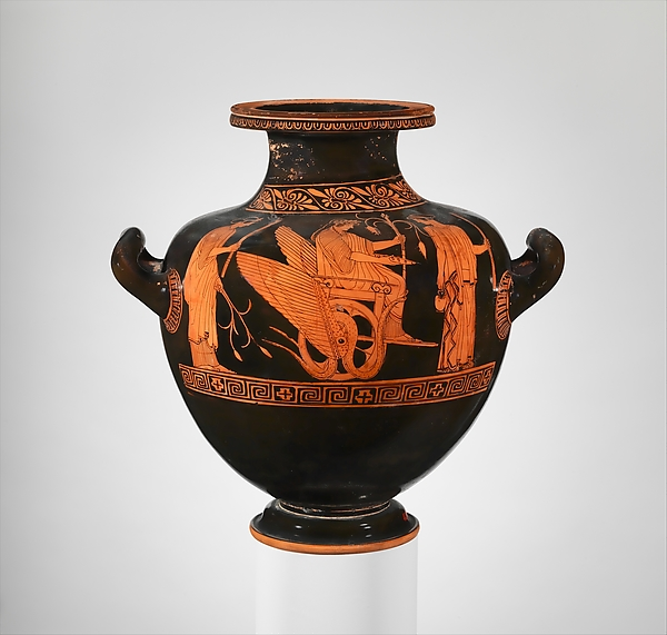 Terracotta hydria: kalpis (water jar), Attributed to the Niobid Painter, Terracotta, Greek, Attic