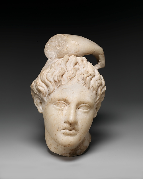 Marble head of Apollo with fragment of his hand, Marble, Roman