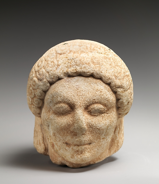 Marble head of a kouros (youth), Marble, Greek