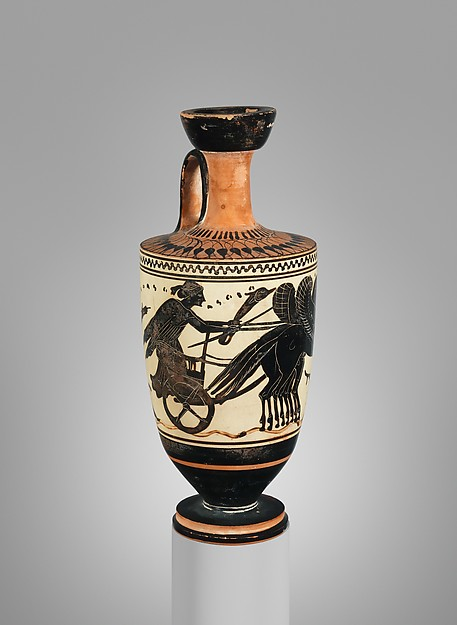 Terracotta lekythos (oil flask), Attributed to the Sappho Painter, Terracotta, Greek, Attic