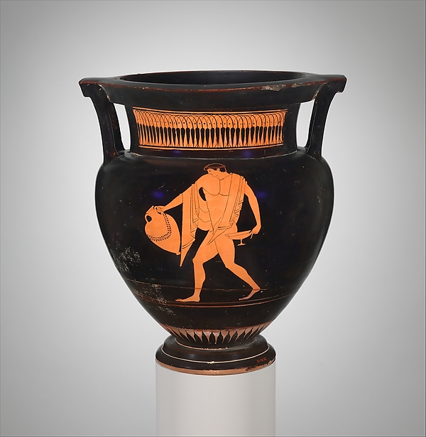 Terracotta column-krater (bowl for mixing wine and water), Attributed to Myson, Terracotta, Greek, Attic