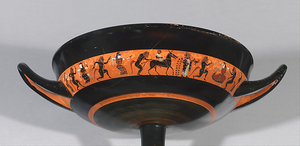 Terracotta kylix: band-cup (drinking cup), Attributed to the Oakeshott Painter, Terracotta, Greek, Attic