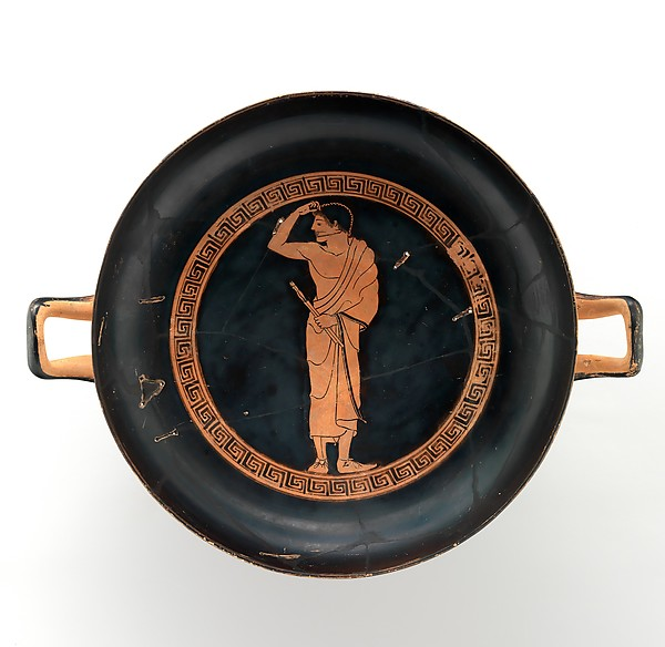 Terracotta kylix (drinking cup), Attributed to the Antiphon Painter, Terracotta, Greek, Attic