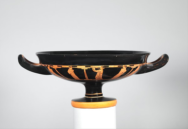Terracotta kylix (drinking cup), Attributed to the Briseis Painter, Terracotta, Greek, Attic