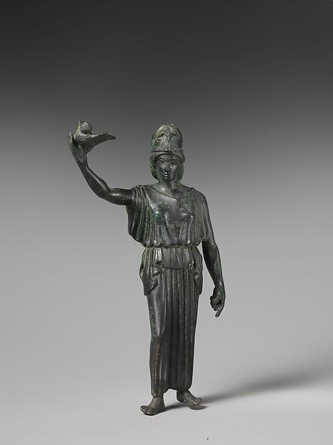 Bronze statuette of Athena flying her owl, Bronze, Greek