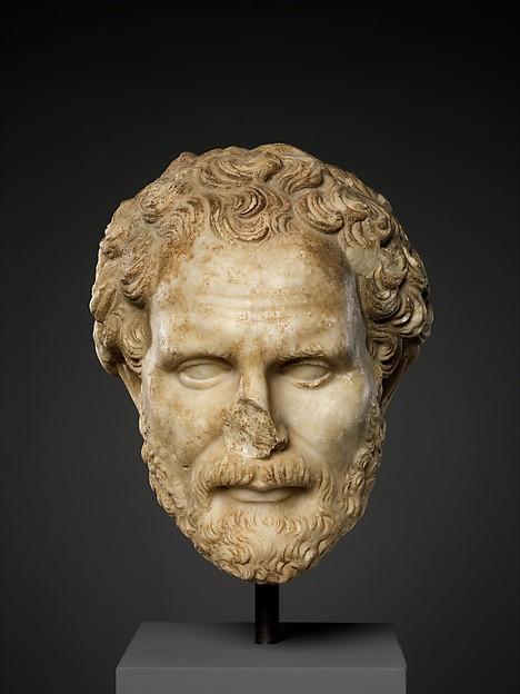 Marble head of Demosthenes, Marble, Roman