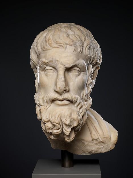 Marble head of Epikouros, Marble, Pentelic, Roman