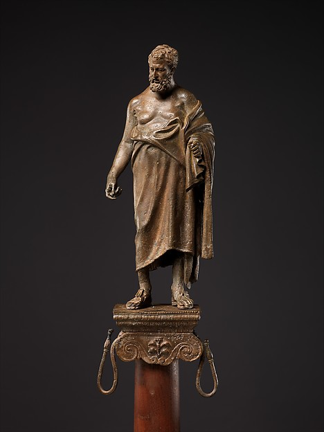 Bronze statuette of a philosopher on a lamp stand, Bronze, Roman