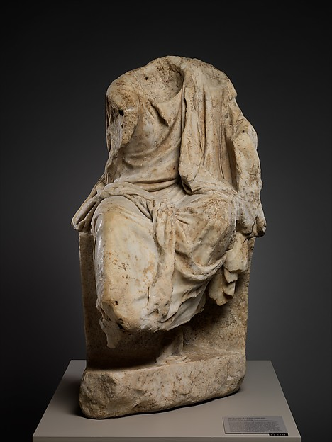 Marble statue of a draped seated man, Signed by Zeuxis as sculptor, Marble, Pentelic, Roman