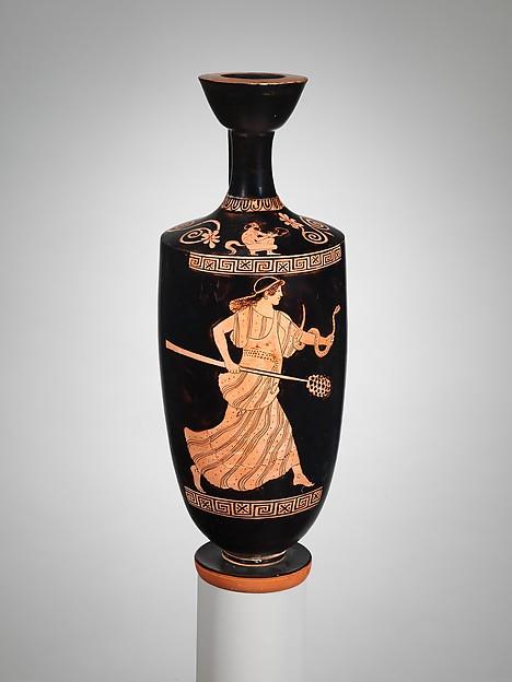 Terracotta lekythos (oil flask), Attributed to Hermonax, Terracotta, Greek, Attic