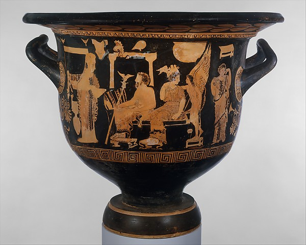 Terracotta bell-krater (mixing bowl), Attributed to the Sarpedon Painter, Terracotta, Greek, South Italian, Apulian