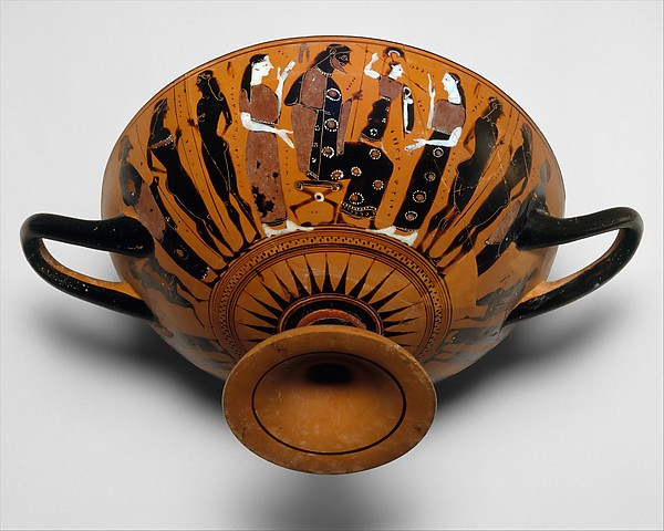 Terracotta kylix (drinking cup), Attributed to the Painter of the Nicosia Olpe, Terracotta, Greek, Attic