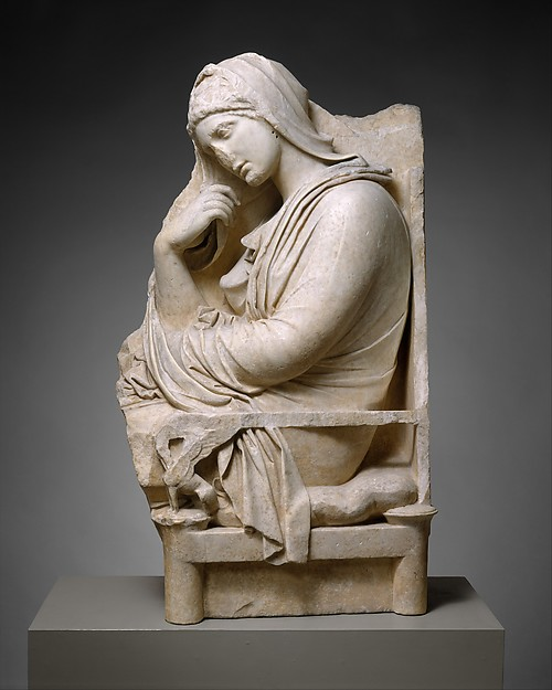 Marble stele (grave marker) of a woman, Marble, Greek, Attic