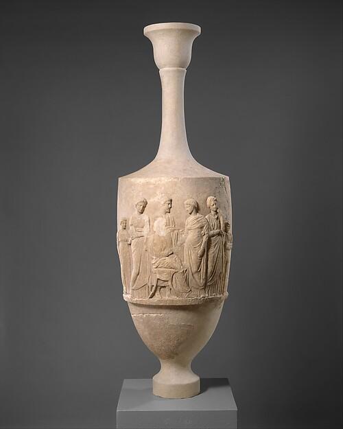 Marble funerary lekythos of Aristomache, Marble, Pentelic, Greek, Attic