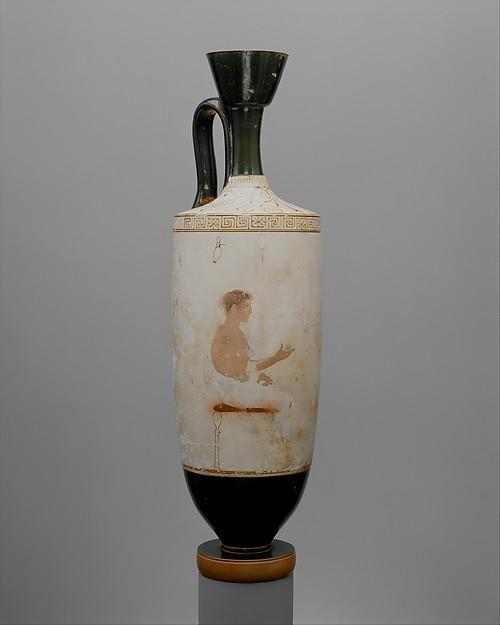 Terracotta lekythos (oil flask), Attributed to the Achilles Painter, Terracotta, Greek, Attic