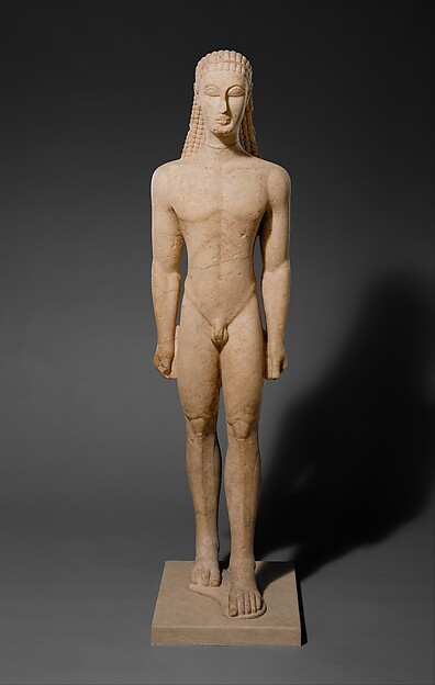 Marble statue of a kouros (youth), Marble, Naxian, Greek, Attic