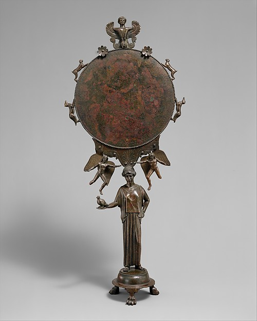 Bronze mirror with a support in the form of a draped woman, Bronze, Greek, Argive