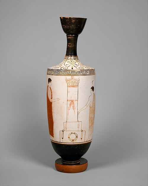 Terracotta lekythos (oil flask), Attributed to the Achilles Painter, Terracotta, Greek, Attic