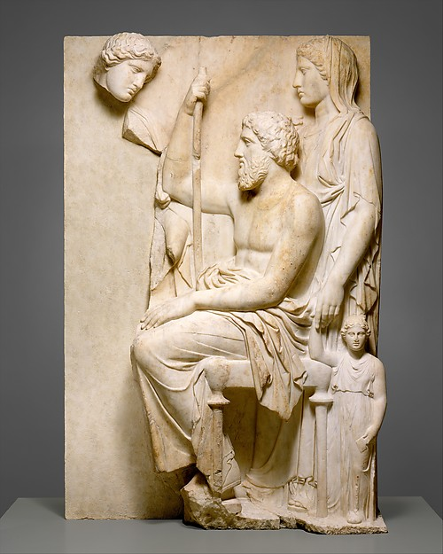 Marble grave stele with a family group, Marble, Pentelic, Greek, Attic