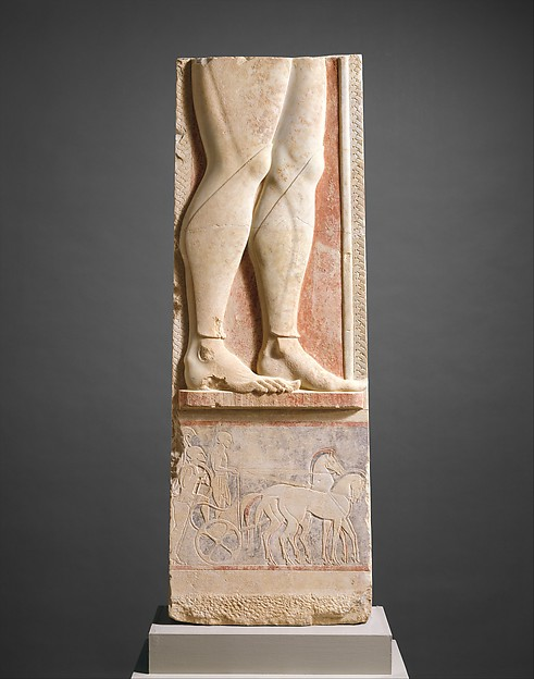 Fragment of the marble stele (grave marker) of a hoplite (foot soldier), Marble, Hymettian, Greek, Attic