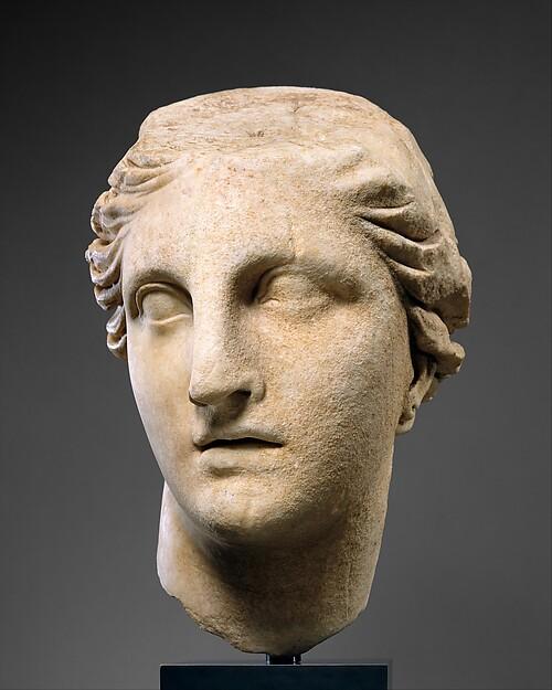 Marble head of Athena, Marble, Greek