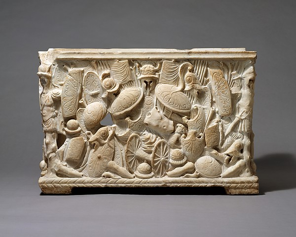 Marble cinerary urn, Marble, Roman