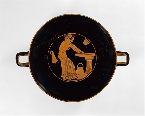 Terracotta kylix (drinking cup), Attributed to Douris, Terracotta, Greek, Attic