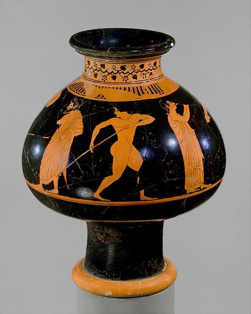 Terracotta psykter (vase for cooling wine), Attributed to Oltos, Terracotta, Greek, Attic