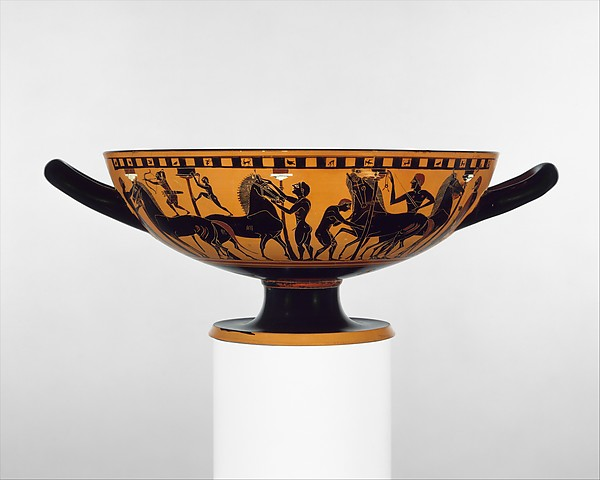 Terracotta kylix (drinking cup), Attributed to the Amasis Painter, Terracotta, Greek, Attic